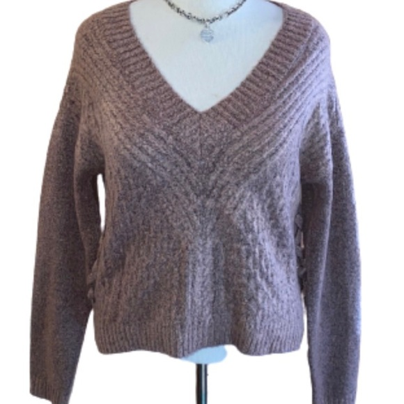 Almost Famous V-Neck Lace-Up Sweater
